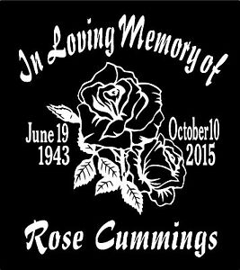 In Loving Memory Of Decal Rose Name Date Custom Car Window Vinyl Sticker