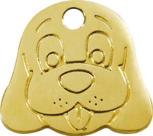Dog Face   Brass ID Tag - Free Shipping & Engraving // Identification Cat Dog