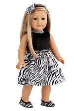 Wild Party - Doll Clothes for 18 inch American Girl, Zebra Party Dress Shoes Bow