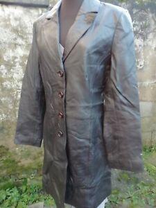 Vtg 90s Julia S Roma Genuine Leather Brown Ladies Military Style Dress Coat 8/10
