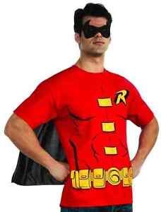 Robin T-Shirt Mask DC Comics Superhero Fancy Dress Up Halloween Adult Costume
