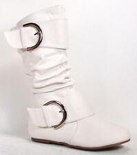 Girl's Kid's Cute Zipper Buckle Flat Heel Mid Calf Slouchy Shoes Size 9 - 12 New