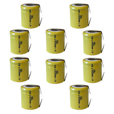 10pc 2/3 SubC 1.2V 550mAh NiCd Rechargeable Assembly Batteries w/Tabs Usa Ship