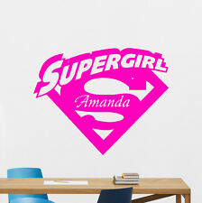 Personalized Supergirl Logo Wall Decal Custom Name Vinyl Sticker Mural 156zzz