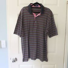 Callaway Collection men's golf polo shirt size L egyptian cotton sports striped