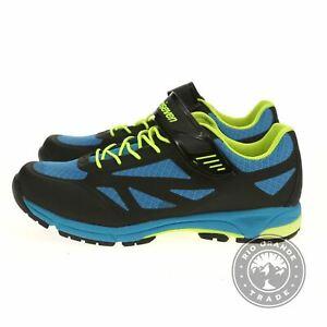NEW TriSeven Men's Mountain MTB Shoe in Blue / Black / Green Leather - 13