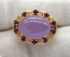 14K Yellow Gold Vintage Ring With Lavender Jade Stone With Rubies around Size 6