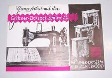 Prospekt Gritzner Zickzack Nähmaschine Gritzner - Kayser Durlach Baden 1935 (D