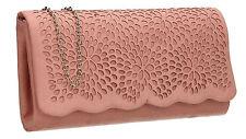 Womens Laser Cut Faux Suede Velvet Ladies Evening Party Prom Smart Clutch Bag
