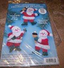 Design Works Felt Jewel Christmas Santa With Bells Ornaments Makes 6