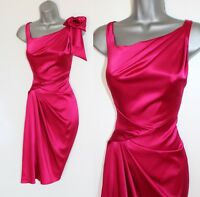Karen Millen 10 Raspberry Satin V Neck Pleated Waist Race Cocktail Party Dress