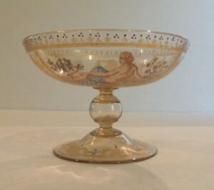 ANTIQUE MOSER / MEYR'S NEFFE GILT & ENAMEL DECORATED CANDY DISH / SMALL COMPOTE