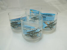 Libbey Rock Sharpe Sunoco AMERICAN WILDLIFE 4 Whale Old Fashioned Tumblers NEW