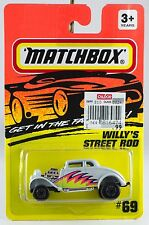 """Matchbox MB 69 Willy's Street Rod White """"Pro Street"""" New On Card 1993"""