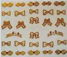 3D Nail Art Decals Transfer Stickers French Gold Bows (3D6010)
