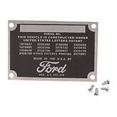 1937 1938 1939 1940 1941 1942 1946 1947 1948     Ford data plate