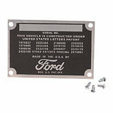 1928 1929 1930 1931 1932 1933 1934 1935 1936  Ford data plate