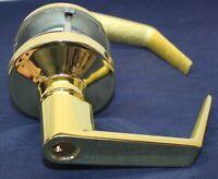STOREROOM KEYED ENTRY DOOR LEVER LOCKSET Polished Brass 2 3/4 BS