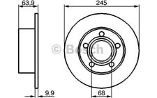 1x BOSCH Disco de Freno Trasero Pleno 245mm 0 986 479 B22