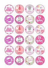 24 x ITS A GIRL BABY SHOWER Wafer Rice Paper Cupcake Toppers EDIBLE CAKE - CUTE!