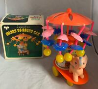 Merry Go Round Celluloid Plastic Wind Up Elephant Baby Vintage Toy Original Box