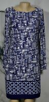 JONES NEW YORK Blue White Patterned Dress US 8 UK 12 3/4 Sleeves Lined
