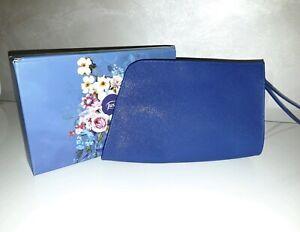 Pochette donna Ecopelle Di Qualità Blu Elettrico Con Cerniera