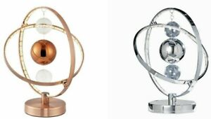 LED Table Lamp Chrome Copper Hoop & Balls Warm White Modern Energy Saving