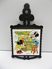Vtg Disney Mickey Mouse Minnie Mouse Cast Iron Trivet Footed Ntk Made in Japan