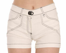 PLEIN SUD JEANIUS Shorts White Mid Waist Cotton Denim Mini IT36/US2/XS