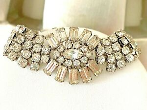 Vintage Signed Weiss Rectangle Marquis Round Clear Rhinestone Bracelet