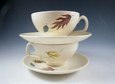 """PAIR (2-SETS) FRANCISCAN """"AUTUMN"""" CUPS & SAUCERS - MID CENTURY - LEAVES - EUC"""