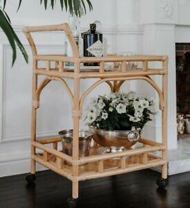 100% Handmade Rattan Bar Cart Indoor Bali Outdoor 66 x 46 x 86cm NEW