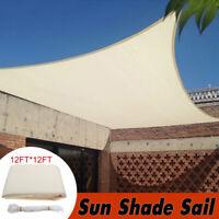 12' Square Sun Shade Sail Garden Patio Sunscreen Awning Canopy Screen Beige