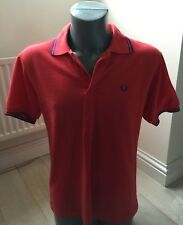Authentic FRED PERRY Twin Tip 100% Cotton Pique Mens Red Small Polo T Shirt EXC