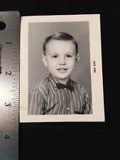 1960 Student Yearbook Photo Young Boy Stripe Shirt Bow Tie