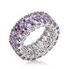 2-ROW BRAZILIAN AMETHYST BAND STERLING SILVER RING SIZE 7 HSN SOLD OUT