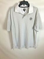 Adidas Climacool Mens Golf Polo Shirt Size Large Striped Polyester Short Sleeve