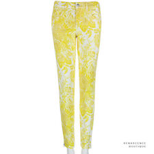 Stella McCartney Yellow White Flower Pattern Skinny-Fit Zipped Hem Jeans W27