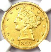1845-D Liberty Gold Half Eagle $5 - Certified NGC AU Details - Dahlonega Coin!