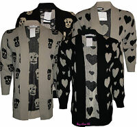 Ladies Women Knitted Cardigans Heart Skull Boyfriend Jumpers Plus Sizes 16 to 26