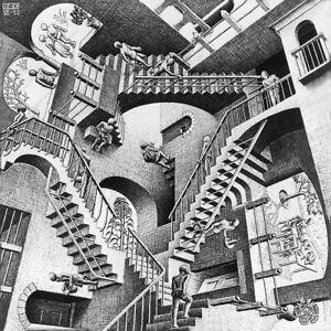 M.C. ESCHER - Relativity (1953) (52x52cm), CANVAS, POSTER FREE P&P