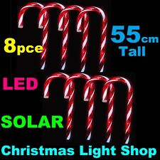 55cm Tall SOLAR Red White LED Candy Canes Outdoor Christmas Garden Path Lights