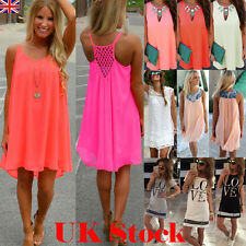 BOHO Ladies Sleeveless Party Tops Womens Summer Beach Swing Dress UK SIZE 6-18