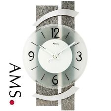 AMS 9548 Wall Clock Quartz Analog Modern Natural Stone Look with Glass and