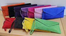 Italian Leather Suede Clutch Bag  Various colours Long & Short detachable straps