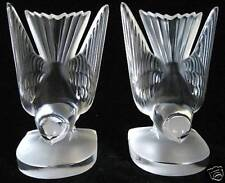 Authentic Vintage Lalique Deux Hirondelles Swallow Bookends~MINT~Collectible