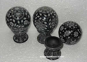 Lot of 3 Black Marble Candle Stand marble Aroma Lamps Flower Art Home Decor