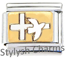 DOVE RELIGIOUS Enamel Italian Charm 9mm Link - 1 x RE051 Single Bracelet Link