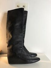 Lanvin Wedge Leather Boots Size UK7